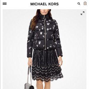 Michael Kors Metallic Rose Black Puffer Jacket.